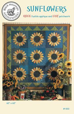 Sunflowers quilt pattern by Black Mountain Needleworks. Quick fusible applique and easy patchwork. Primitive Quilts, Farmhouse Quilts, Country Quilts, Primitive Crafts, Sunflower Quilts, Sunflower Patch, Dresden Plate Quilts, Quilting Projects, Quilting Ideas