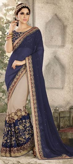 Best range of latest indian designer sarees collection for wedding and parties. Grab the fancy fabric and faux chiffon blue and navy blue half n half designer saree. Designer Sarees Collection, Saree Collection, Latest Indian Saree, Indian Sarees, Indian Dresses, Indian Outfits, Embroidery Saree, Art Silk Sarees, Chiffon Saree