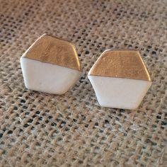 203104c0c Porcelain White and Gold Hexagon Stud Earrings Studs, Ceramic Art, Spikes, Stud  Earrings