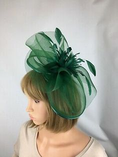 Ladies Neon Green Coil Feather Fascinator Headpiece bridesmaids Weddings Races