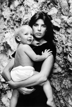 Caroline, Princess of Hanover, with her son Andrea, photographed by Alice Springs, Monte Carlo, 1985.