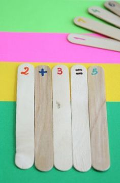 Here's a hands-on activity that first grade use to help kids get a feel for equations. It uses popsicle sticks to practice addition and subtraction!
