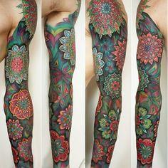 beautiful geometric flower mandala color Tattoo Artist:Rom Azovsky