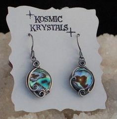 Abalone Shell Earrings in Dark Patina Sterling by KosmicKrystals