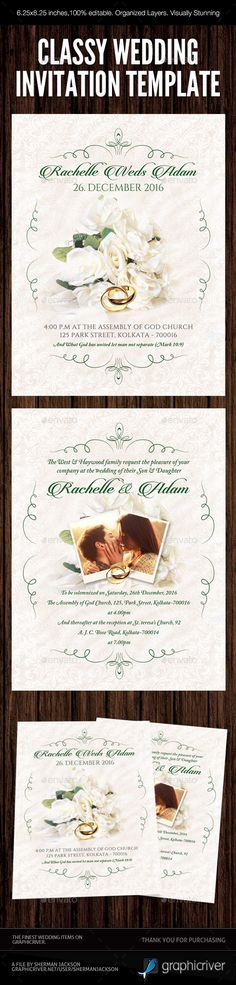 Classy Wedding Invitation 03 - PSD Template • Only available here ➝ https://graphicriver.net/item/classy-wedding-invitation-03/16951940?ref=pxcr
