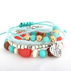 Ladies Rice Beads Love Pendant Multilayer Blue Bracelets
