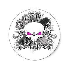 Hairdresser Skull Stickers