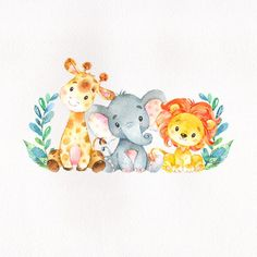 baby animals This safari animals themed baby shower sticker features a cute elephant, giraffe and lion on a scanned watercolor paper image background. The design also features a some deco Baby Shower Candy Table, Safari Baby Shower Cake, Baby Shower Treats, Baby Shower Backdrop, Lion Baby Shower, Safari Animals, Baby Animals, Baby Animal Drawings, Baby Shower Decorations For Boys