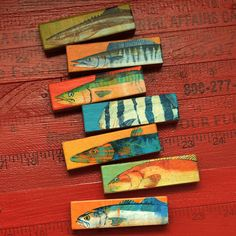 Fish Art  Fish Sticks  Saltwater Fish Art Block Set by johnwgolden, $22.00