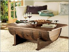 Wine barrel bar table and many other DIY furniture made of wooden barrel - Wine barrel bar table and many other DIY furniture made of wooden barrel - Wine Barrel Bar Table, Table Bar, Wine Barrels, Coffee Table Plans, Coffee Table With Storage, Vintage Furniture, Cool Furniture, Diy Furniture Making, Wine Barrel Furniture