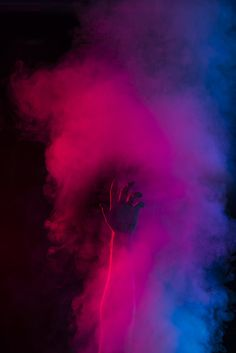 smoke, hand, and blue image