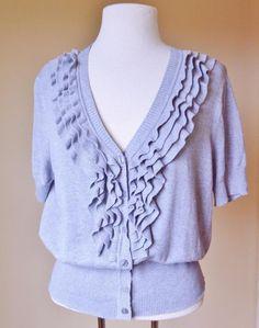 Worthington XL Cardigan Sweater Gray Ruffled V Neck S/S Buttons Cotton Rayon #Worthington #Cardigan