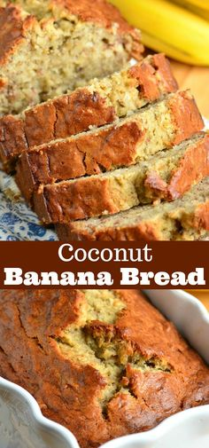 Soft, moist, and super easy banana bread made with tropica… Coconut Banana Bread. Soft, moist, and super easy banana bread made with tropical flavor addition of coconut. This delicious bread makes a great snack. Banana Bread Easy Moist, Banana Bread Cake, Coconut Banana Bread, Coconut Flour Bread, Healthy Banana Bread, Pineapple Coconut Bread, Banana Bars, Fruit Bread, Coconut Sugar