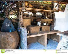 A Outdoor Rural Kitchen Stock Photo - Image: 65861163