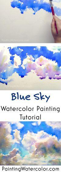 Blue Sky Sketching watercolor painting tutorial by Jennifer Branch #BlueSky