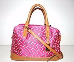 Tommy Hilfiger Women's Pink/White Convertible Shopper Handbag Purse   #TommyHilfiger #TotesShoppers