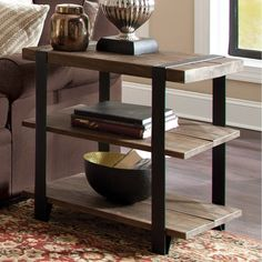 Carbon Loft Kenyon Natural Metal Strap and Reclaimed Wood End Table (End Table with Shelf, Rustic Natural), Brown Western Furniture, Table Furniture, Modern Furniture, Metal Furniture, Western Living Rooms, Solid Wood Shelves, Sofa Tables, Sofa Chair, End Tables With Storage