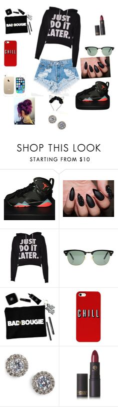 """Just do it!!🤔🙄😡"" by khloem-1 ❤ liked on Polyvore featuring beauty, Levi's, NIKE, Ray-Ban, FingerPrint Jewellry, Nadri and Lipstick Queen"