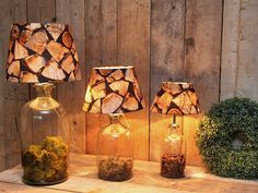 Original lampbases including lampshades in different sizes