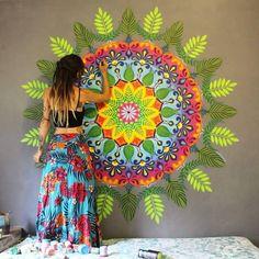 A Different Me Mandala Art Lesson, Mandala Painting, Mandala Drawing, Graffiti Wall Art, Mural Wall Art, Murals, Wall Art Designs, Design Art, Pintura Hippie