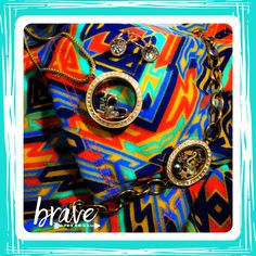 Lularoe Carly bright colors geometrics. Fashion trend for spring. Accessories jewelry by Origami Owl. Rose gold. Locket bracelet. Living Locket. Earrings with Swarovski crystals www.nancypye.origamiowl.com