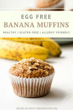 Egg Free Banana Muffins - Light, fluffy and delicious Egg Free Banana Muffins that will satisfy any muffin craving. This recipe for eggless banana muffins can be adapted to suit common food allergies – egg free, dairy free, gluten free, vegan, and low sugar. Or make these muffins without eggs if you are caught without eggs for your usual recipe. Recipe from www.theworktop.com. | #eggfree #muffins #breakfastrecipes #healthyrecipes