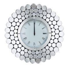 Rochelle Round Wall Mirror Clock - Silver - Abbyson
