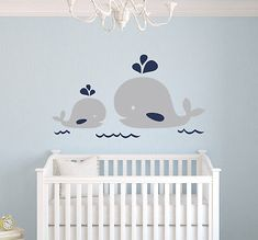 Nautical Mom and Baby Whale Wall Decal - Nautical Decor - Baby Nursery Decor