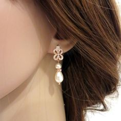 Simple Rose Gold Bridal earrings Pearl Wedding by treasures570