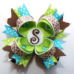 "2.5"" Mini Personalized M2M Mud Pie Wild Child Giraffe Print Stacked Hair Bow"