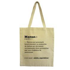 Un tote bag super maman ! Sacs Tote Bags, Diy Tote Bag, Reusable Tote Bags, Christmas Gifts For Mom, Christmas Items, Diy Cadeau, Silhouette Portrait, Christen, Cotton Bag