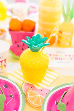 Pineapple Party Cup for Two-tti Fruity Party!l | Twotti Fruity 2! | Kenly's 2nd Birthday Party | LFF Designs | www.facebook.com/LFFdesigns