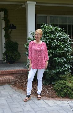 Fashion over Forty (keeping it classy!); use MAGNOLIA585 for $10 off; Glamour Farms Mika Top - Dark Fuchsia and white jeggings