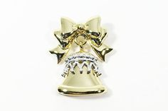 Items similar to Classic Danecraft Signed Christmas Bell Brooch Vintage Moveable Articulated Gold Tone Silver Tone Holiday Pin Secret Sister Gift Holiday on Etsy Christmas Jewelry, Christmas Bells, Christmas Ornament, Vintage Gifts, Etsy Vintage, Secret Sister Gifts, Photographing Jewelry, Antique Brooches, Or Antique