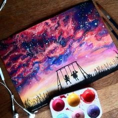 Art is everywhere at once watercolor art, art, drawings. Galaxy Painting, Galaxy Art, Galaxy Watercolour, Cool Drawings, Drawing Pictures, Amazing Drawings, Beautiful Drawings, Painting & Drawing, Gouache Painting