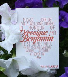 Oh So Beautiful Paper: Veronique + Benjamin's Multilingual Coral and Gold Foil Wedding Invitations