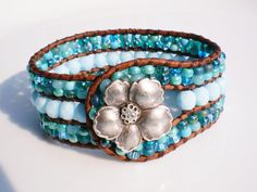 Turquoise Jewelry Czech Glass Bracelet Leather by RopesofPearls