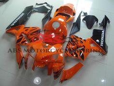 Orange & Black Flame 2005-2006 Honda CBR600RR Kings Motorcycle Fairings Rear Seat, Honda, Orange, Motorcycle, Black, Products, Black People, Biking, Motorcycles