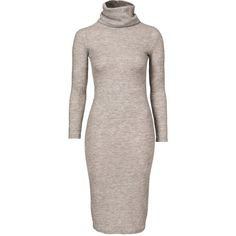Glamorous Turtleneck Bodycon ($38) ❤ liked on Polyvore featuring dresses, grey, womens-fashion, body con dress, grey dress, long sleeve turtleneck, gray bodycon dress and turtle neck dress