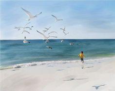 "Patricia Gagne ""Beach Play"" Digital Mixed-Media on Canvas 24"" x 30"""