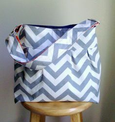 Gray Chevron Bag   Large Diaper Bag....LOVE it!