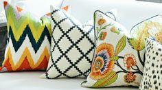 Martyn Lawrence Bullard Sinhala for Schumacher Linen Print Bittersweet Ikat Pillows, Pillow Fabric, Chair Fabric, Decorative Pillows, Cute Cushions, Scatter Cushions, Cushion Covers, Pillow Covers, Colourful Living Room