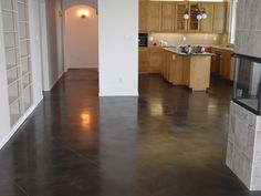 Polished Concrete Floor With Gray Stain Rica Concrete