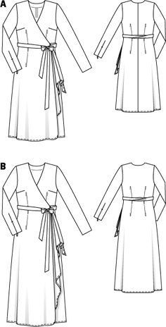 """Wrap Dress with Sash - BurdaStyle / Sizes / Softly draping dress fabrics. Use only fabrics with two """"good"""" sides""""./ Wrap dress with a side drape Source by nzmerinofabrics - Halter Bodycon Dress, Belted Shirt Dress, Tee Dress, Maternity Sewing, Maternity Dresses, Diy Fashion, Fashion Dresses, Fashion Design, Jersey Maxi"""