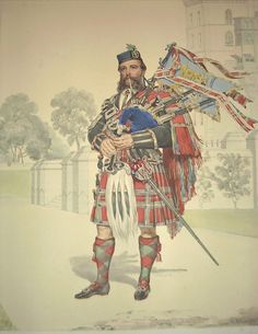 William Ross, her Majesty's Piper, at Windsor Castle, 1866; from Highlanders of Scotland, a folio of lithographic copies of watercolour drawings by Kenneth Macleay, commissioned by Queen Victoria, published in 1870.