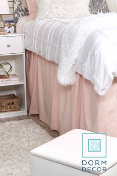 #dormbedskirts #dormbedding #collegedormrooms #storagesolutions #dormstorageideas   Dorm Decor has a variety of dorm bed skirts that can you complete and college dorm design, as well as hide the storage bins you might keep under your bed. Check out our website to explore all our styles! One size fits all. Three panels recommended. Dorm Storage, Storage Bins, Storage Solutions, College Dorm Rooms, College Dorm Bedding, Dorm Bed Skirts, Dorm Accessories, Dorm Design, Dorm Decorations