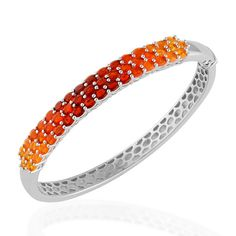 Liquidation Channel | Shades of Jalisco Fire Opal Bangle in Platinum Overlay Sterling Silver (Nickel Free)