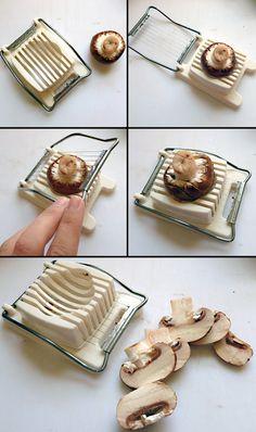 Mit einem Eierschneider lassen sich auch wunderbar Pilze schneiden. | 33 geniale Lifehacks, die Du wirklich nützlich finden wirst