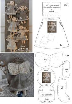 DIY Handmade: Jak uszyć aniołka z materiału? Doll Crafts, Diy Doll, Doll Clothes Patterns, Doll Patterns, Sewing Projects, Sewing Crafts, Angel Crafts, Fabric Toys, Christmas Sewing