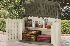 This Rubbermaid® Split-Lid Storage Unit is the ultimate outdoor storage solution! With multiple entry points, this unit can be opened every which way. It also has an impressive storage capacity of 18 cubic feet, so it can hold everything from seasonal gardening supplies to bulky patio cushions with ease.